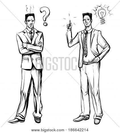 Man in business suit, hand drawn vector sketch. Idea concept with man and lightbulb. Black and white line illustration.