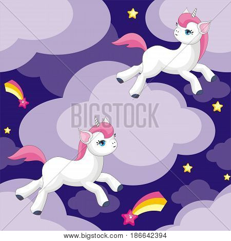 Unicorn And Clouds Pattern.eps