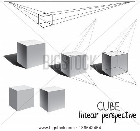 Building a cube in linear perspective. Visual material for art students. 3D Cube. Cube with shadow in perspective. Vector illustration.