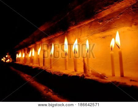 Worship candles for celebrate and worship the god. Praying faith religion concept.