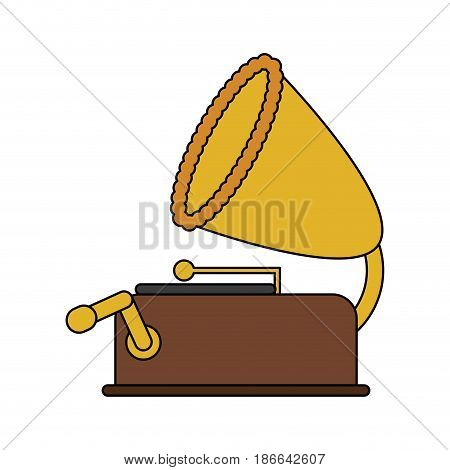 color image old gramophone musical sound icon vector illustration