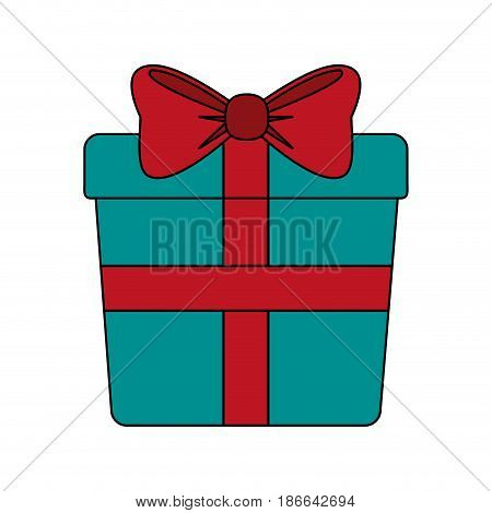 color image giftbox with wrapping bow vector illustration