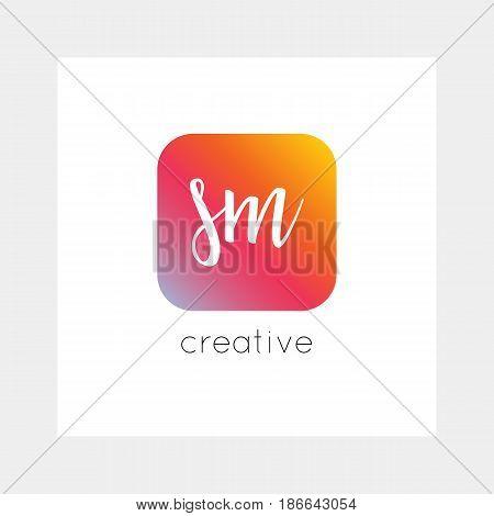 Sm Logo, Vector. Useful As Branding, App Icon, Alphabet Combination, Clip-art.
