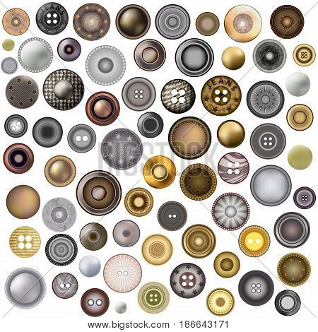 Set of sewing buttons isolated on white background. Realistic Accessories Metal Jeans Round Button or Rivets Set Web Design Element. Vector 3d illustration. Mega collection