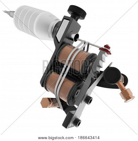 Metallic black tattoo machine with copper coils closeup. 3D illustration