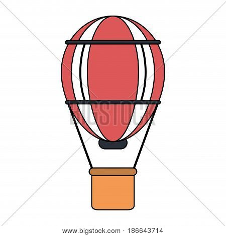 color image red striped hot air balloon with basket vector illustration
