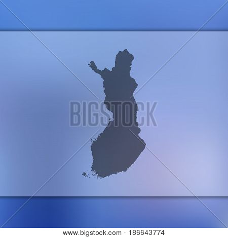 Finland map on blurred background. Silhouette of vector Finland map.