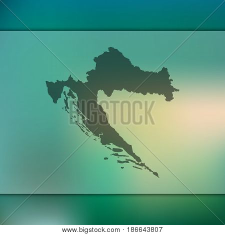 Croatia map on blurred background. Silhouette of vector Croatia map.