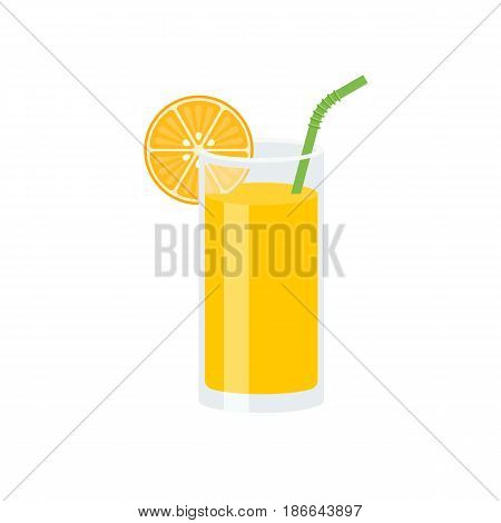 Orange juice with slice of orange and green straw, flat design vector