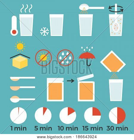 cooking sign instruction for manual on packing, flat design