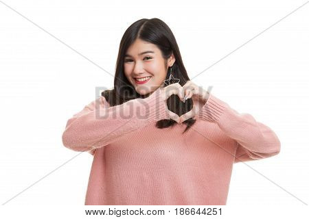 Young Asian Woman Show Heart Hand Sign.