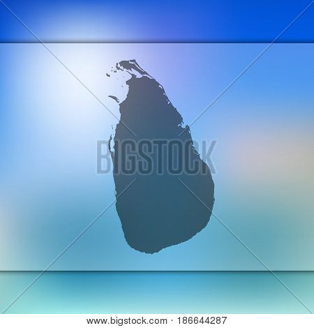 Sri-Lanka map on blurred background. Silhouette of vector Sri-Lanka map.