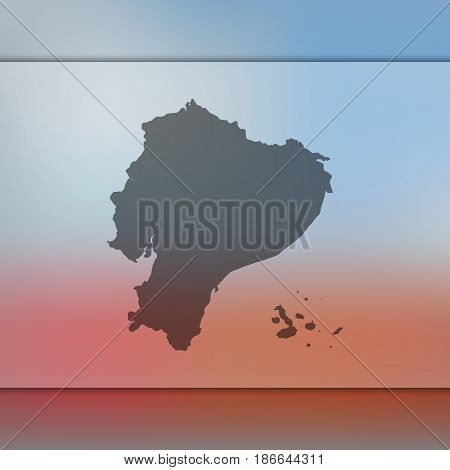 Ecuador map on blurred background. Silhouette of vector Ecuador map. Blur Background.