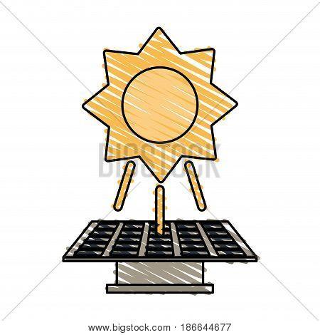 color crayon stripe image solar energy panel vector illustration