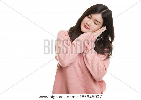 Beautiful Young Asian Woman With Sleeping Gesture.
