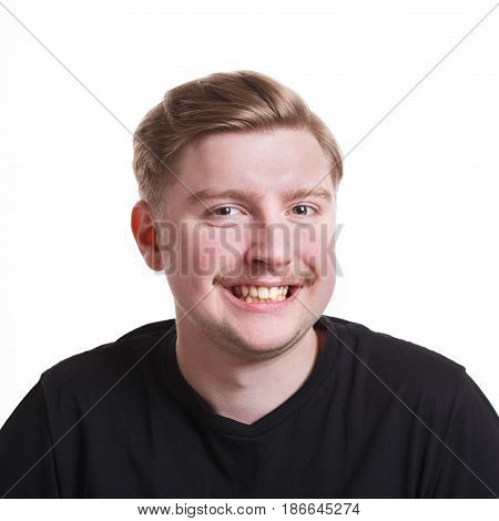 Insincere smile. Cheerful man laughing on white isolated background, studio shot, copy space