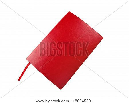 Diary of red color on a white background