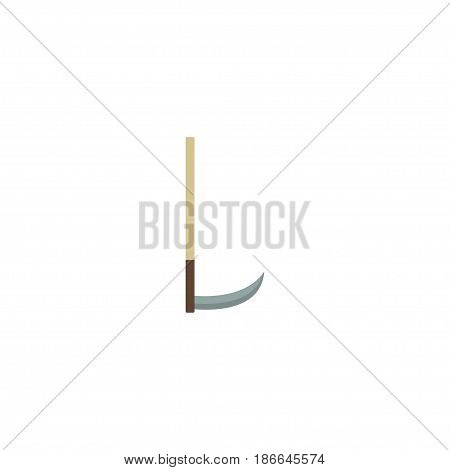 Flat Scythe Element. Vector Illustration Of Flat Cutter Isolated On Clean Background. Can Be Used As Scythe, Cutter And Tool Symbols.