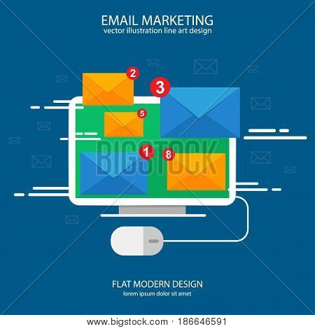 Sending or receiving email sms messages around the world. E-mail marketing concept. Vector illustration. Flat design.