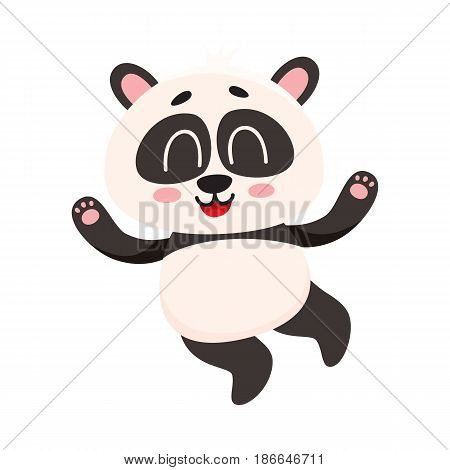 Cute and funny smiling baby panda character jumping from happiness, cartoon vector illustration isolated on white background. Happy little panda bear character, mascot jumping excitedly