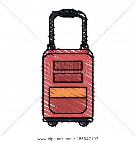 color crayon stripe image red travel suitcase with handle vector illustration