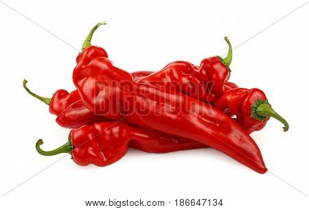 Red Paprika Peppers Close Up Isolated On White