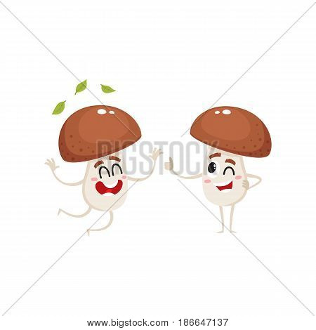 Two funny porcini mushroom characters, one jumping from happiness, another showing thumb up, cartoon vector illustration isolated on white background. Couple of happy porcini mushroom characters