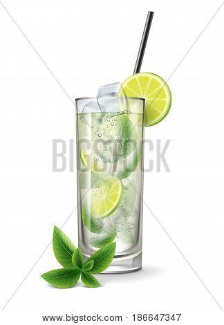 Mojito cocktail with fresh sliced lime, ice cubes, mint sprig and black straw tube isolated on white background