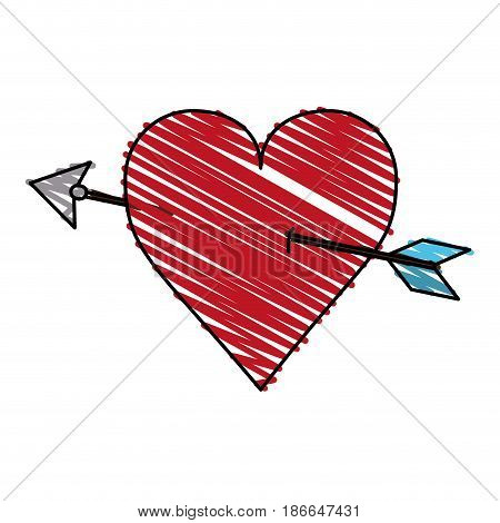color crayon stripe image red heart pierced by arrow vector illustration