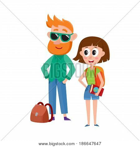 Couple of tourists, man in sunglasses and woman with backpack, travelling together, cartoon vector illustration isolated on white background. Man and woman, boy and girl tourists on tour