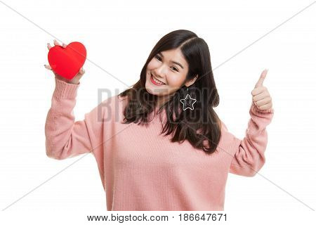 Asian Woman Thumbs Up With Red Heart.