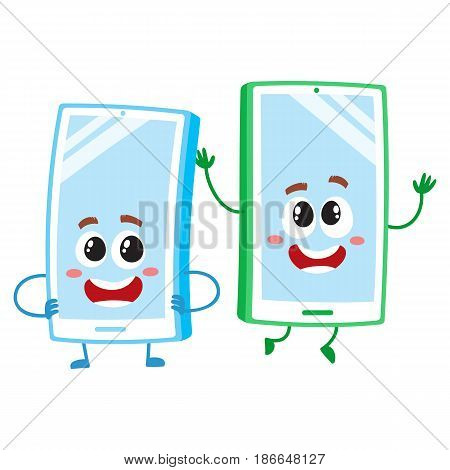Two cartoon mobile phone characters, one arms akimbo, another jumping happily, vector illustration isolated on white background. Two cartoon mobile phone, smartphone characters