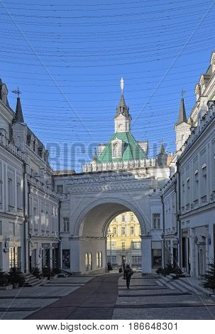 MOSCOW, RUSSIA - FEBRUARY 6, 2017: Tretyakov Lane view of the Bird's Tower the only tower of the Kitai-Gorod wall preserved to date built in 1535-1538 years