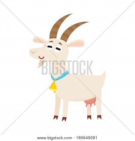 Farm goat with big eyes and horns, wearing bell, cartoon vector illustration isolated on white background. Cute and funny farm goat with friendly face and big eyes