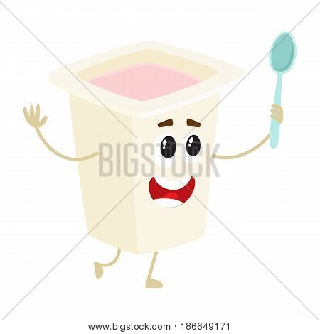 Funny yogurt character with smiling human face in plastic cup, cartoon vector illustration isolated on white background. Cute and funny yogurt character, dairy product mascot holding a spoon