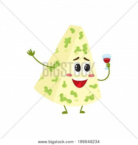 Funny blue cheese character with smiling human face holding wine glass, cartoon vector illustration isolated on white background. Cute and funny blue mould cheese character, dairy product mascot