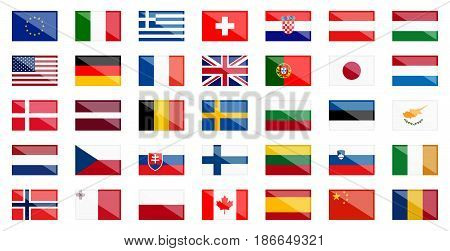 flags of different european and american countries with reflection