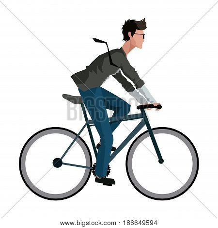 young man riding bicyle with suit and glasses vector illustration