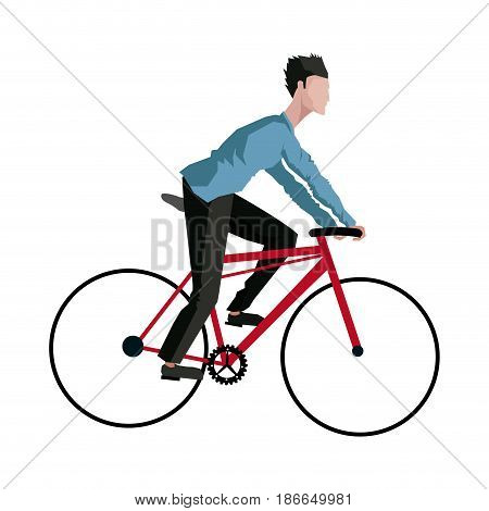 drawing guy rider bike transport vector illustration