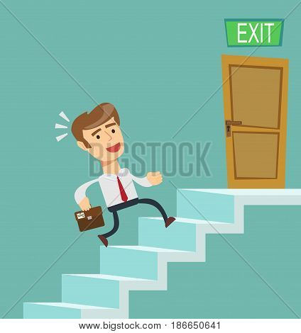 A young businessman going upstairs steadily, a closed door in the wall at the top. Concept of career growth. Stock flat vector illustration.