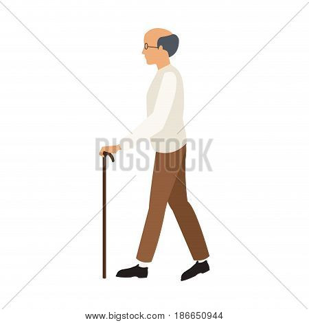 bald man elderly walking with cane stick vector illustration
