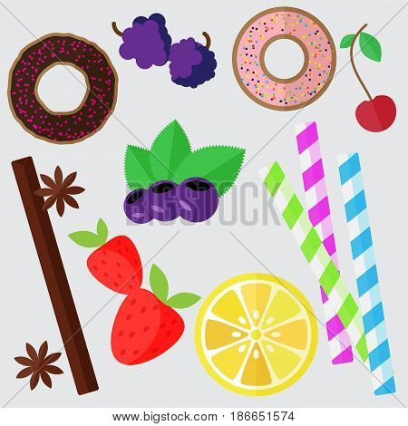 Set of sweets, vector flat illustration. Donut, berries, and lemon isolated on white background
