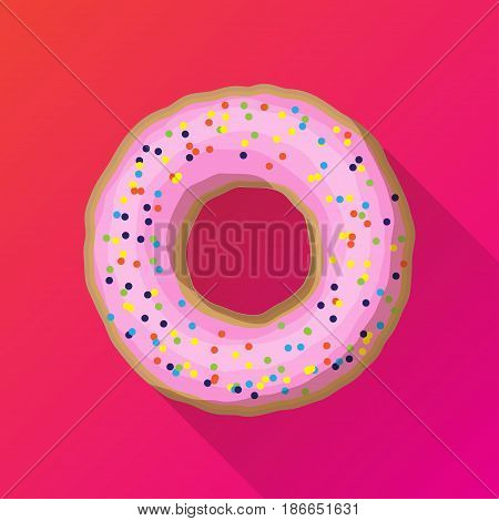 One strawberry donut with colored powder. Vector illustration