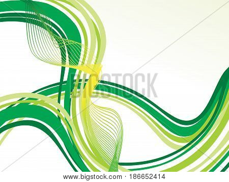 abstract artistic green eco line wave vector illustration