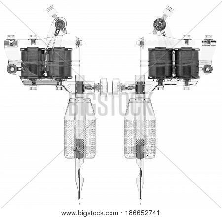 Plastic transparent grey tattoo machine with two coils set. 3D isometric illustration