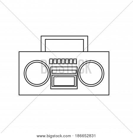 stereo radio music play retro outline vector illustration