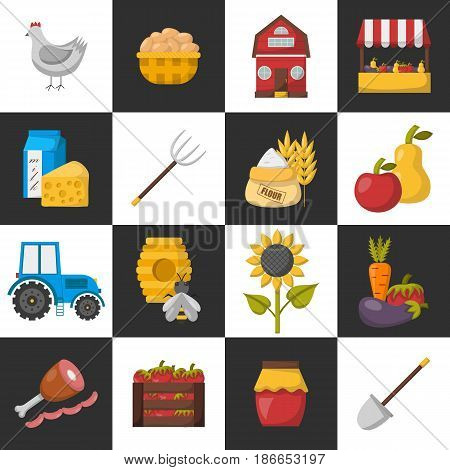 Vector Cartoon Farm Market Icons
