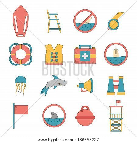 Vector Cartoon Flat Lifeguard Icons