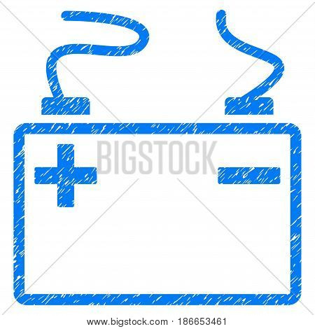 Grunge Accumulator icon with grunge design and dust texture. Unclean vector blue pictogram for rubber seal stamp imitations and watermarks. Draft sign symbol.