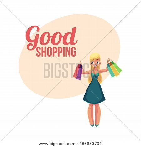 Happy shopping poster, banner template with blond girl, woman holding bags, holiday sale concept, cartoon vector illustration. Poster, banner with happy girl, woman holding many shopping bags